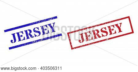 Grunge Jersey Rubber Stamps In Red And Blue Colors. Seals Have Draft Style. Vector Rubber Imitations