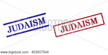 Grunge Judaism Stamp Seals In Red And Blue Colors. Seals Have Rubber Style. Vector Rubber Imitations
