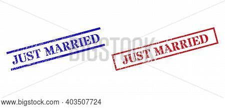 Grunge Just Married Stamp Seals In Red And Blue Colors. Seals Have Rubber Style. Vector Rubber Imita