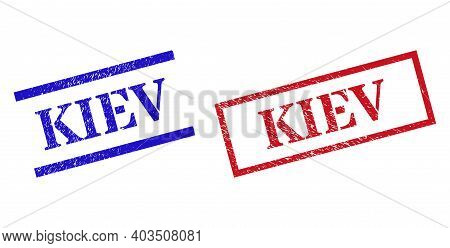 Grunge Kiev Rubber Stamps In Red And Blue Colors. Stamps Have Rubber Style. Vector Rubber Imitations