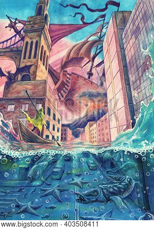 Fantasy Watercolor Urban Landscape Painting With Natural Disaster, Flood Illustration Art, Calamity