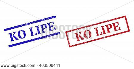 Grunge Ko Lipe Stamp Seals In Red And Blue Colors. Stamps Have Rubber Texture. Vector Rubber Imitati