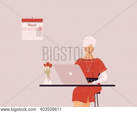 March 8 International Women's Day.cute Blonde Woman In Red Work On Laptop.vase With Tulips On Desk.s