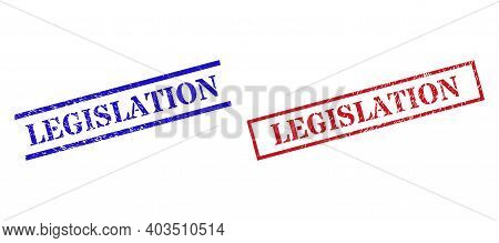 Grunge Legislation Stamp Seals In Red And Blue Colors. Seals Have Rubber Texture. Vector Rubber Imit