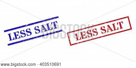 Grunge Less Salt Rubber Stamps In Red And Blue Colors. Stamps Have Draft Surface. Vector Rubber Imit