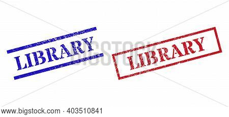 Grunge Library Rubber Stamps In Red And Blue Colors. Stamps Have Distress Texture. Vector Rubber Imi