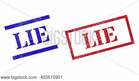 Grunge Lie Seal Stamps In Red And Blue Colors. Stamps Have Rubber Texture. Vector Rubber Imitations