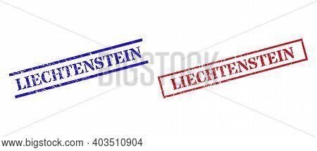 Grunge Liechtenstein Stamp Seals In Red And Blue Colors. Seals Have Rubber Texture. Vector Rubber Im