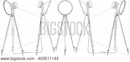 Tripod Torchere Floor Lamp Vector. Illustration Isolated On White Background. A Vector Illustration