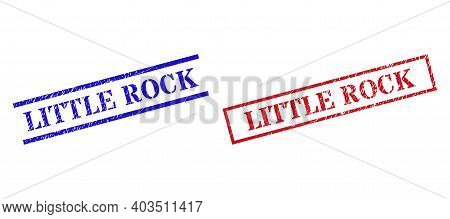Grunge Little Rock Seal Stamps In Red And Blue Colors. Seals Have Rubber Surface. Vector Rubber Imit