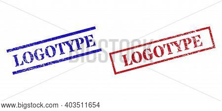 Grunge Logotype Rubber Stamps In Red And Blue Colors. Seals Have Distress Surface. Vector Rubber Imi