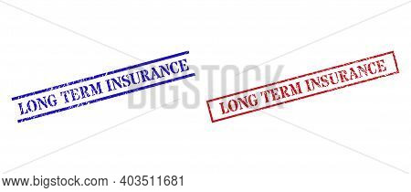 Grunge Long Term Insurance Rubber Stamps In Red And Blue Colors. Stamps Have Distress Surface. Vecto