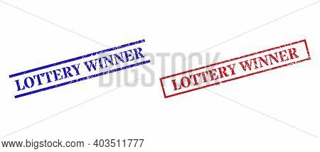 Grunge Lottery Winner Rubber Stamps In Red And Blue Colors. Seals Have Rubber Surface. Vector Rubber