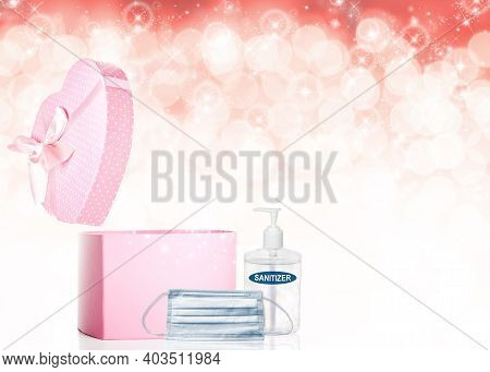 Valentines Day Concept During Covid-19 Pandemic With Opened Heart-shaped Pink Gift Box, Face Mask, H