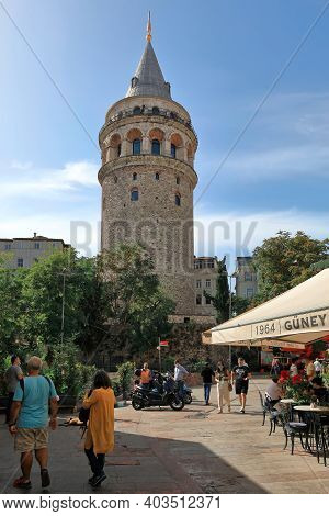 Istanbul, Turkey - October 07, 2020. Galata Tower - Medieval Stone Tower In The Karakoy Quarter Of I