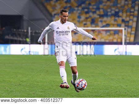 Kyiv, Ukraine - December 1, 2020: Lucas Vazquez Of Real Madrid In Action During The Uefa Champions L