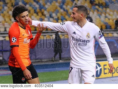 Kyiv, Ukraine - December 1, 2020: Taison Of Shakhtar Donetsk And Lucas Vazquez Of Real Madrid During