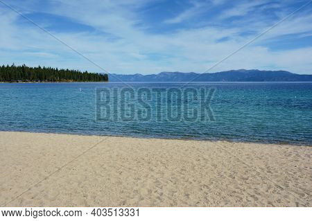 Abstract Perspective On Baldwin Beach, Along The West Shoreline Of Lake Tahoe, Eastern California.