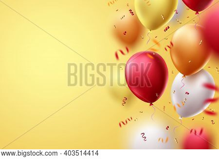 Birthday Balloons Vector Template Background Design. Balloon Elements For Birthday Invitation Card A