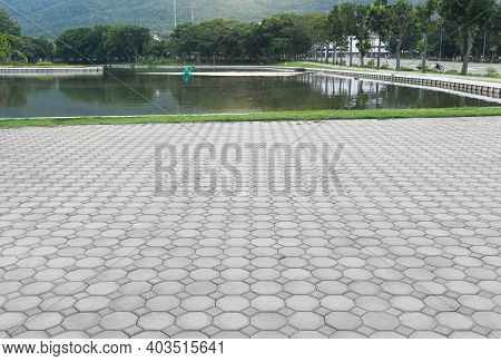 Truncated Square Tiling Pattern Of Paver Brick Floor Or Block Paving. Construction Or Lay On Ground