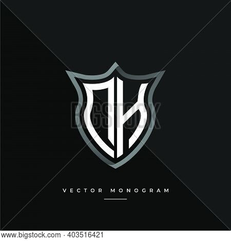 Trendy Dh Monogram On The Shield Isolated On Dark Background. Silver Flat D And H Initial Logo Busin