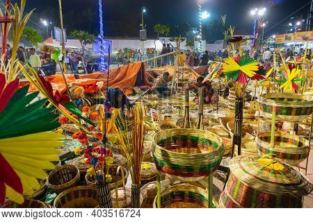Kolkata, West Bengal, India - 31st December 2018 : Cane Made Artificial Colored Flowers And Plants,