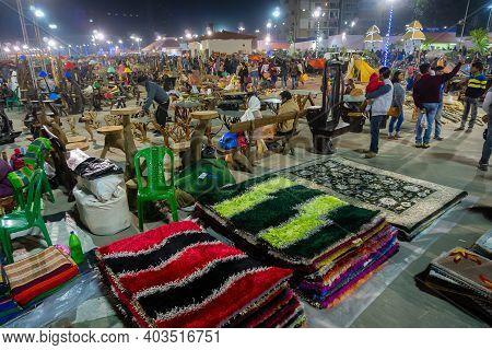 Kolkata, West Bengal, India - 31st December 2018 : Woolen Carpets , Door Mats, Handicraft Products B