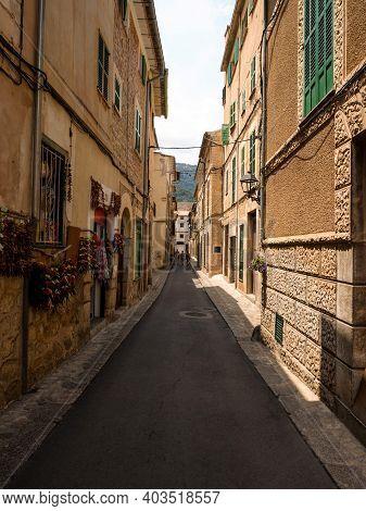 Old Rustic Mediterranean Traditional House Facade Wall Narrow Alley Lane Road Street Mallorca Balear