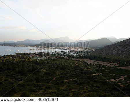 Panorama Of Mediterranean Sea Town City Port De Pollenca From Mirador Es Colomer Viewpoint Balearic