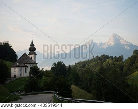 Panorama View Of Picturesque Pilgrimage Church Chapel Maria Gern Mountain Landscape Berchtesgaden Ba