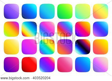Multicolor Fluid Gradients For Rounded Square Button Vector Set