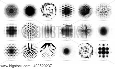 Round Dotted Texture, Radial Geometric Dots Pattern And Graphic Decor Circles Vector Set