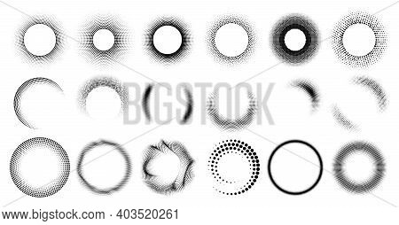 Circle Shape With Dots Pattern, Retro Half Tone Background And Graphic Decoration Border Vector Set
