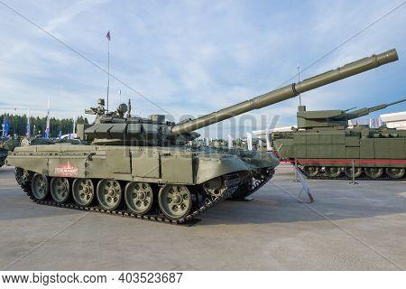 Moscow Region, Russia - August 25, 2020: The Main Russian Battle Tank T-72b3 On The International Mi
