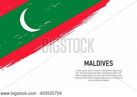 Grunge Styled Brush Stroke Background With Flag Of Maldives. Template For Banner Or Poster.