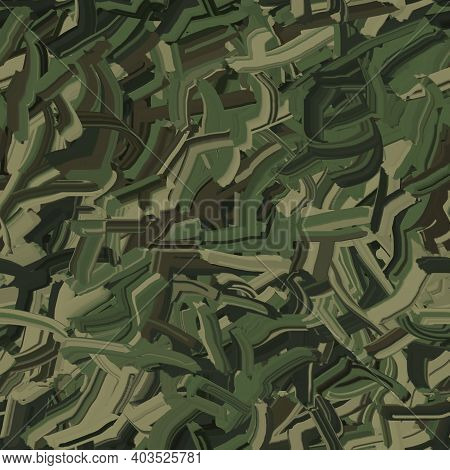 Camouflage Scrawl From Chaotic Stripes Of Dry Stroke, Seamless Pattern. Military Camo Texture With B