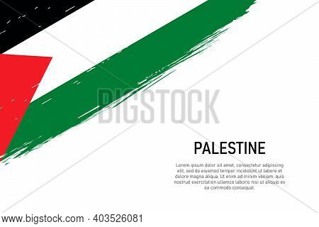Grunge Styled Brush Stroke Background With Flag Of Palestine. Template For Banner Or Poster.
