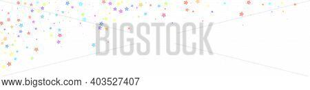 Festive Dramatic Confetti. Celebration Stars. Colorful Stars Random On White Background. Admirable F