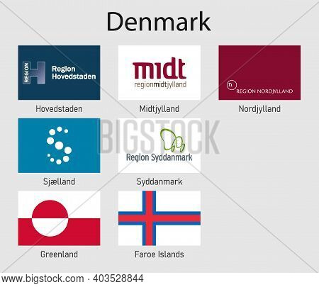 Set Flags Of The Provinces Of Denmark, All Danish Regions Flag Collection