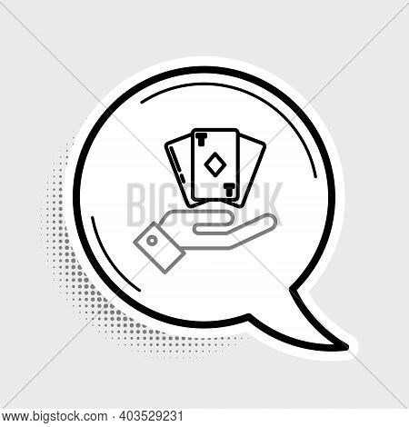 Line Hand Holding Deck Of Playing Cards Icon Isolated On Grey Background. Casino Gambling. Colorful