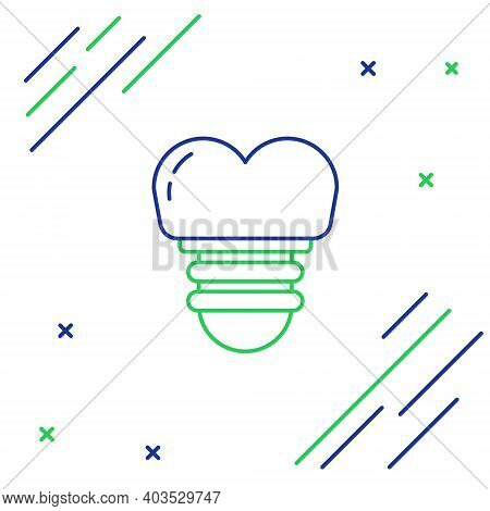 Line Dental Implant Icon Isolated On White Background. Colorful Outline Concept. Vector