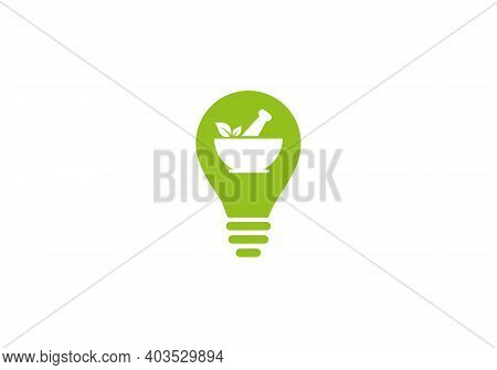 Pharmacy Concept Logo Design. Ayurveda Herbal Logo. Medical Pharmacy Logo Design With Bulb Shape