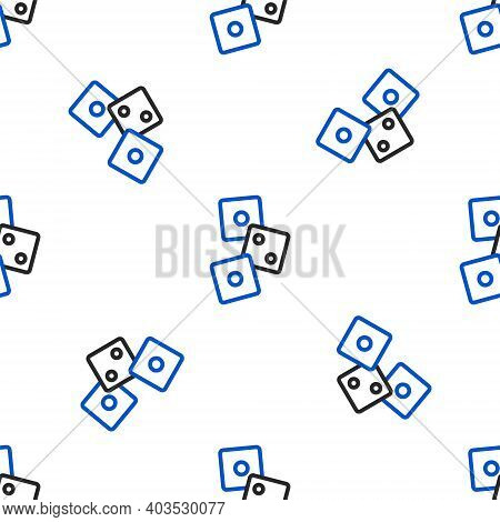 Line Game Dice Icon Isolated Seamless Pattern On White Background. Casino Gambling. Colorful Outline