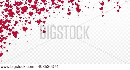 Red Heart Love Confettis. Valentines Day Falling Rain Fantastic Background. Falling Stitched Paper H