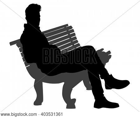 People sit on a park bench. Isolated silhouettes of people on a white background