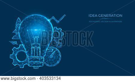 Abstract Polygonal Vector Illustration Of Idea Generation. Low Poly Light Bulb Concept Made Of Lines
