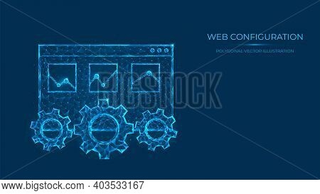 Abstract Polygonal Vector Illustration Of Web Configuration. Low Poly Concept Of Web Page And Gears