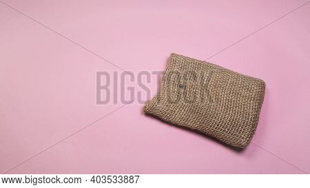 Canvas Diy Bag, On Pink Background, Diy Concept, Top View, Copy Space
