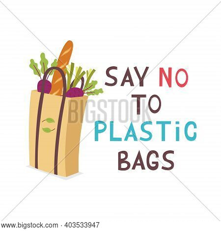 Eco Paper Grocery Shopping Bag. In The Bag Vegetables Beets, Leeks, Baguette. Zero Waste. Ecological
