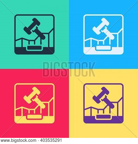 Pop Art Online Internet Auction Icon Isolated On Color Background. International Trade Concept. Inve